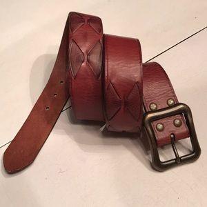 Dark tan top grain leather belt NWT